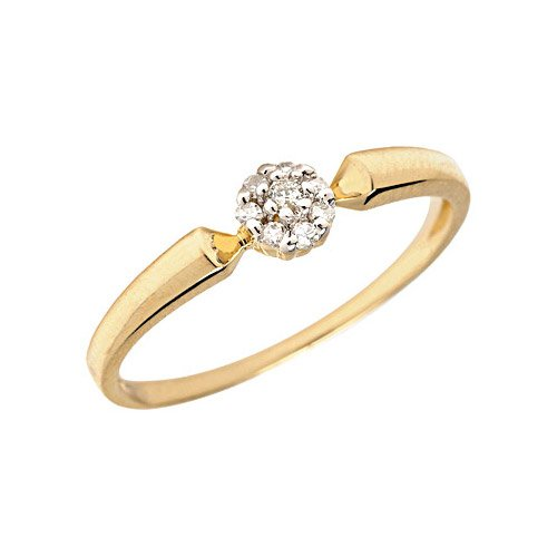 10K Yellow Gold Diamond Cluster Ring (Size 9.5)