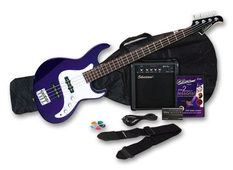 Silvertone Crusher Electric Bass Pack, Cobalt Blue