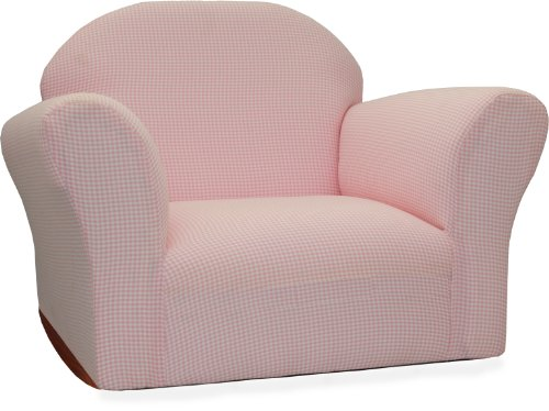 Fantasy Furniture Roundy Rocking Chair Gingham, Pink
