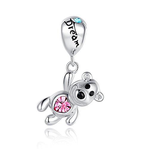 Glamulet Dream-Palloncino a forma di orsetto con Swarovski in argento Sterling 925, per braccialetti Pandora