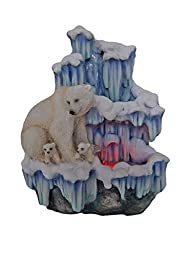SINTECHNO SNF12076-3 Artistic Sculptural Mother Polar Bear with Her Cubs on Iceberg Tabletop Water Fountain