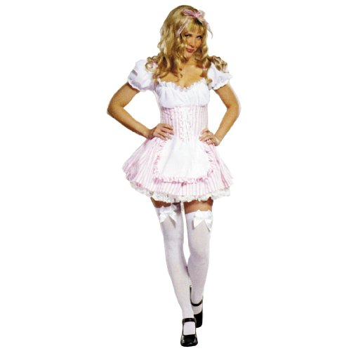Adult Candy Striper Occupational Costume Hospital Nurse Red White Dress Halloween