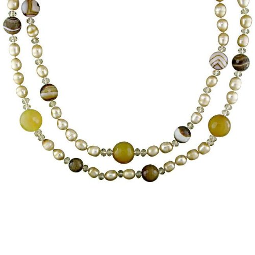 New York Pearls Beige FW Pearl and Multi-colored Quartz Necklace (8-9 mm)