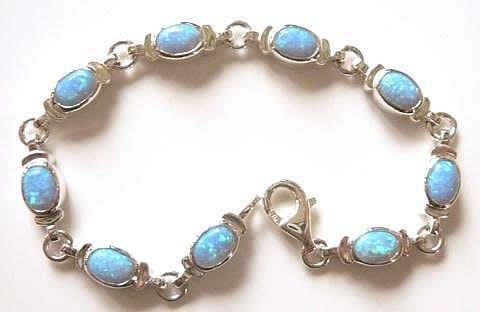 Stonesandsilver,Classic Oval, Synthetic Blue Opal Bracelet. (Stones 7x5mm)