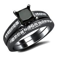2.0ct Black Princess Cut Diamond Engagement Ring Wedding Set 14k Black Gold