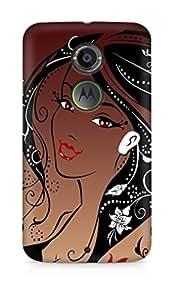 Amez designer printed 3d premium high quality back case cover for Motorola Moto X (2nd Generation) (Girl face hair)