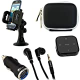 IKross 2 in 1 Feature Bluetooth Stereo Audio Music Streaming Receiver Adapter / Stereo Handfree Headset + Black Headset Case + 2-Port USB Car Charger Adapter + Car Windshield Mount Holder for Apple iPhone 5 / 4S / 4; Google Nexus 4, Nexus One ; Samsung G