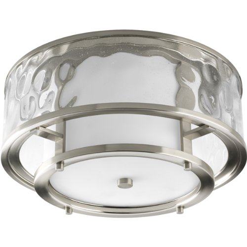 Progress Lighting P3942-09 Bay Court Collection 2-Light Outdoor Flushmount, Brushed Nickel