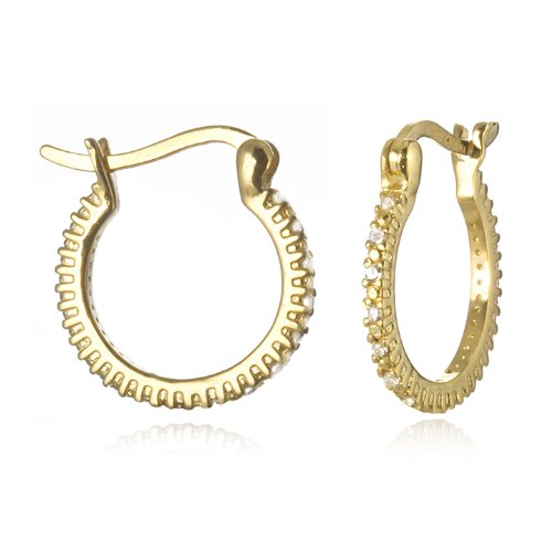SMALL HOOP EARRING WITH WHITE CZ IN GOLD PLATE