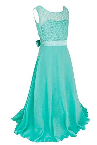 FEESHOW Girls Kids Lace Flower Wedding Pageant Party Chiffon Long Maxi Dress Turquoise 14