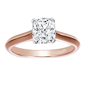14K Rose Gold Solitaire Diamond Engagement Ring Cushion Cut ( J Color VS2 Clarity 4.01 ctw) - Size 3