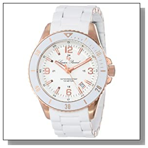 Lucien Piccard Women's LP-93608-RG-22 Mocassino White Dial White Silicone Band Watch
