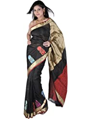 Exotic India Black Banarasi Handloom Sari With Woven Flowers On Border A - Black