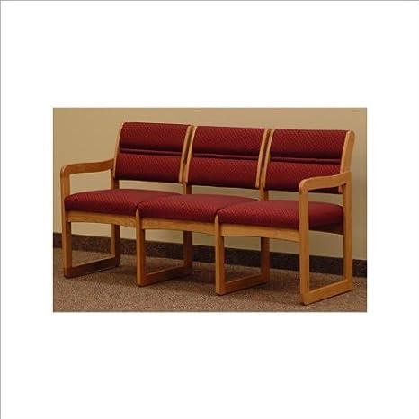 Dakota Wave Triple Sled Base Sofa with Designer Fabric in Medium Oak