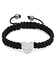 DUMAN Swarovski Crystal Shamballa ball beads one Heart Beads Adjustable Friendship Bracelet White