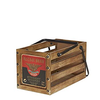 Household Essentials Whiskey Design Decorative Wood Crate for Storage, Small, Brown