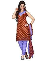 Lookslady Cotton Brown Women Unstitched Salwar Kameez Suit Dress Material