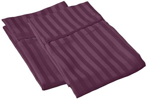 Impressions 1500 Series Wrinkle Resistant Standard Pillowcase Pair Stripe, Plum front-173490