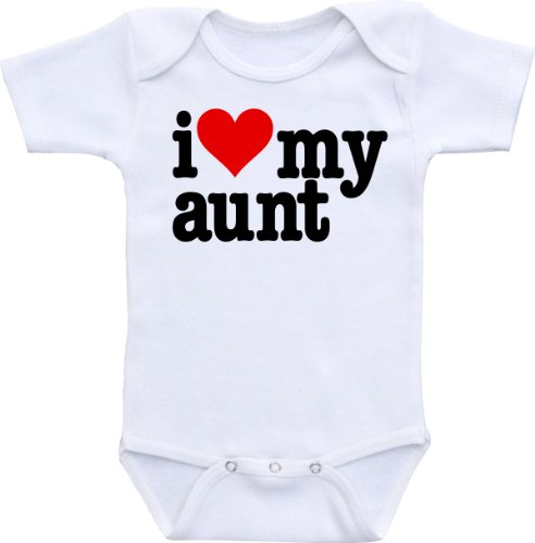 I Love My Aunt (With Heart) Size 0-3 Months Bodysuit (Red/Black) front-1029782