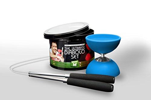"""Diabolo + Aste in Alluminio + Video on line GRATIS, il tutto in un elegante barattolo di latta - """" """"L'ultimissimo Set da Giocoliere Diabolo con Mister M"""" (rosso/verde/blu)"""