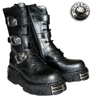 New Rock Boots Style M710 (Black/Grey) - (10 UK)