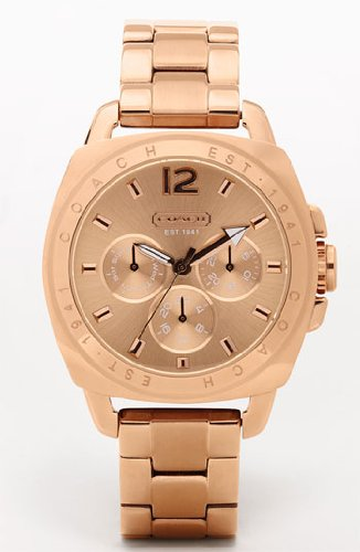 COACH Boyfriend Rose-Gold Tone Bracelet Watch 14501371