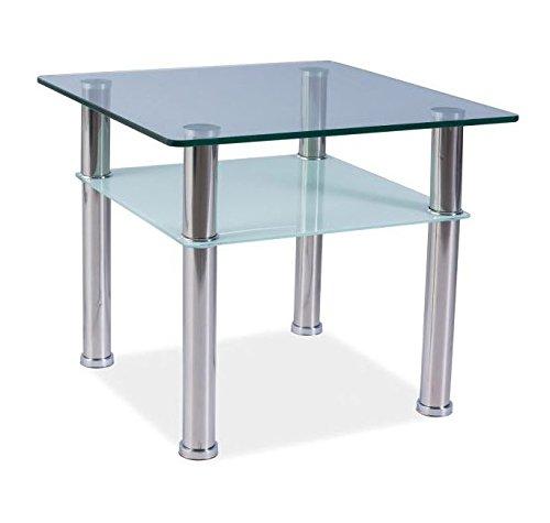 Letti e Mobili - Tavolino quadrato Laos C60 con vetro 60x60cm
