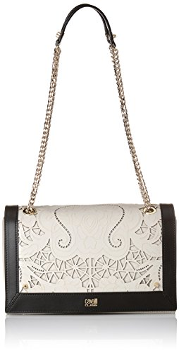 Cavalli Small shoulder bag Icon LoveLace 002, Borsa a spalla donna Multicolore Mehrfarbig (Offwhite/Black F03) 24x14x8 cm (B x H x T)