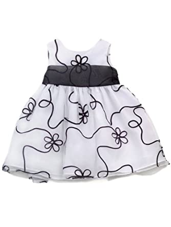 Rare Editions Little Girls' Ribbon Soutach Organza Dress, White/Black, 3T
