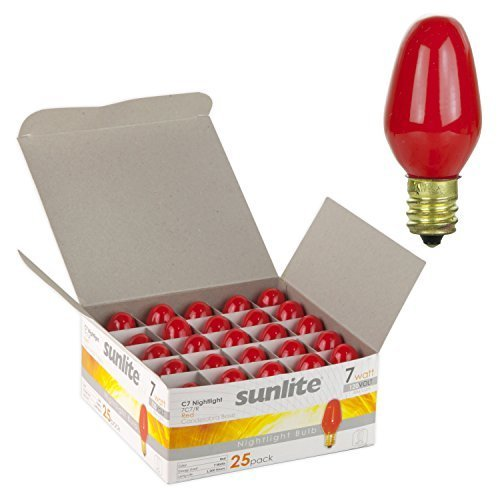 Sunlite 7C7/R Incandescent 7-Watt, Candelabra Based, C7 Night Light Colored Bulb, Red by Sunshine Lighting