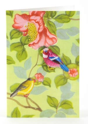 Petra Boase Tin Badge Card - Birds With Flowers front-45907