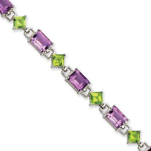 Sterling Silver 7.25inch Amethyst & Peridot Bracelet