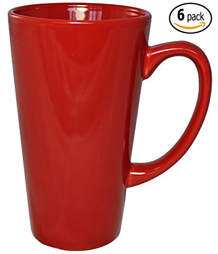 ITI Ceramic Tall Funnel Cup Coffee Mugs with Pan Scraper, 16 Ounce (6-Pack, Red) (Coffee Cup Set Red compare prices)