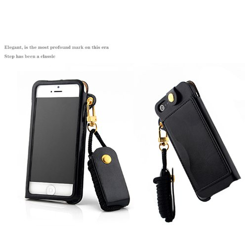 Jk Lv Pu Portable Leather Id Credit Card Case Cover Skin Holder For Iphone With Folding Stand/Lanyard-Come With A Headset Headphones Earphone Cord Winder Fixer Gift Phone Screen Protector (Ipnone5/5S/5C Black)