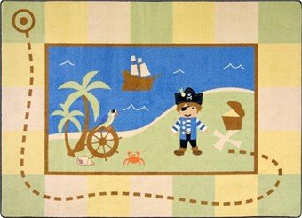"Joy Carpets Kid Essentials Active Play & Juvenile Lil' Pirate Rug, Multicolored, 3'10"" x 5'4"""