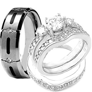 4 pcs His & Hers, STAINLESS STEEL & TITANIUM Matching Engagement Wedding Rings Set. AVAILABLE SIZES men's 7,8,9,10,11.; women's set: 5,6,7,8,9,10. EMAIL US SIZES THAT YOU NEED