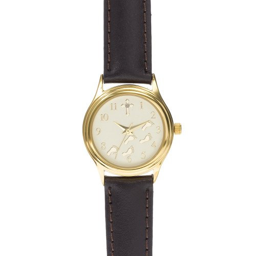 Women's Round Gold Footsteps Diamond & Cross Accent Watch - Brown