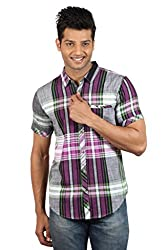 Le Tailor Men's Slim Fit Casual Checkered Shirt (SLCHS111,Purple & Black)