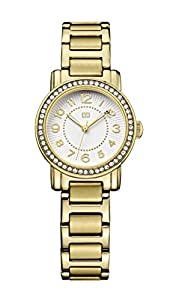 Tommy Hilfiger Rose Women's Quartz Watch with White Dial Analogue Display and Gold Stainless Steel Gold Plated Bracelet 1781477