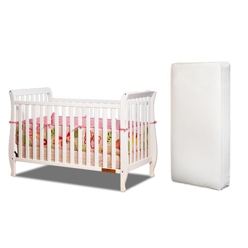 Baby Mile Hannah 4-In-1 Convertible Crib With Toddler Rail And Luxe Crib Mattress, White front-951193