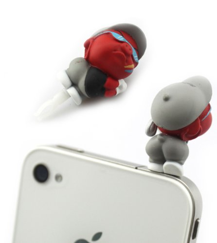 Big Dragonfly Cool Golfer Piggy 3.5Mm Earphone Jack Charm Anti Dust Plug Bowknot Ear Cap For Iphone 5 Iphone 4 4S ,Ipad ,Ipod Touch 5,Samsung Galaxy S3 S4 Note 2,Htc Box Package Red
