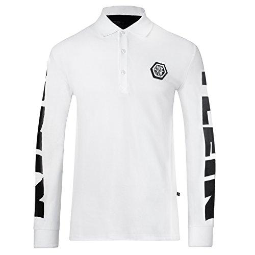 "Philipp Plein Polo Long sleeve ""MCMLXXVIII"" White Longsleeve Sweatshirt Poloshirt Langarmshirt Herren Shirt Slim-Fit körperbetont Langarm T-Shirt Operteil Weiss mit Print und Applikationen (XXL) thumbnail"