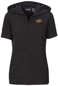 NCAA Oklahoma State Cowboys Ladies Short Sleeve Full Zip Polar Fleece Hoodie, Black,... by Oxford