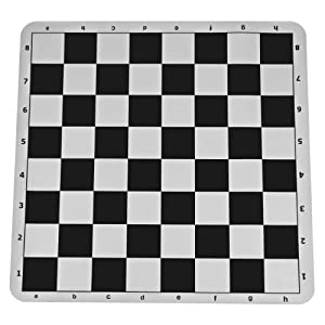 Black Silicone Tournament Chess Mat - 20 Inch Board with 2.25 Inch Squares