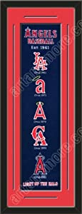 Heritage Banner Of Los Angeles Angels With Team Color Double Matting-Framed Awesome... by Art and More, Davenport, IA