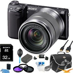 Sony NEX-5R NEX5R, NEX5RKB, NEX5RK 16.1 MP Compact Interchangeable Lens Digital Camera Black Wifi, With 18-55mm Lens ULTIMATE BUNDLE with 32GB High Speed Card, Spare Battery, Deluxe Filter Kit, Mini HDMI cable, SD card reader, Padded case + More!