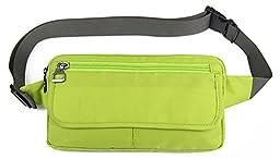 TUODAWEN Casual Traveling Outdoor Nylon Waist Bag Cellphone Pouch Jogging Running Belt (Green)