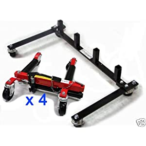 Set of 4 - Hydraulic Vehicle Dollies Wheel Jack Body Shop for Tires up to 12