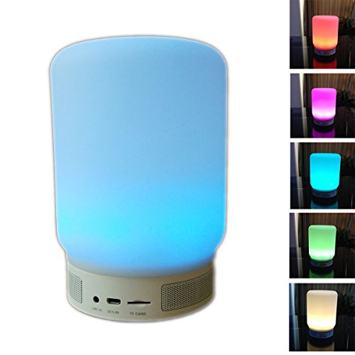 Wireless Bluetooth 4.0 Color Changing Speaker, Smart LED Bulb Lamp -- Rechargeable Battery & Mirco SD Card Slot, Hands-free to Answer the Call, Multi Color changing Lamp for iPhone, Samsung