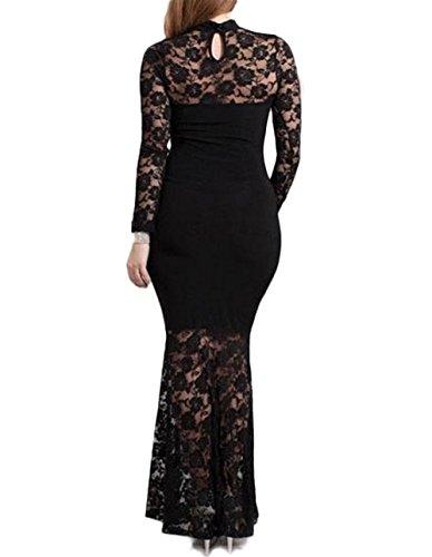 832 D10 - Mermaid Lace Maxi Long Cocktail Dress Gown Black (2X)
